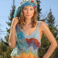 Радужное платье спицами