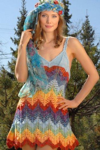 Радужное платье спицами. Вязание спицами.