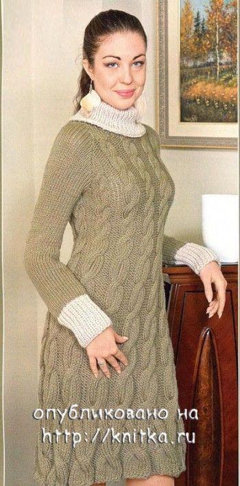 Оливковое платье спицами. Вязание спицами.
