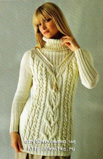 Белый свитер с косами. Вязание спицами.