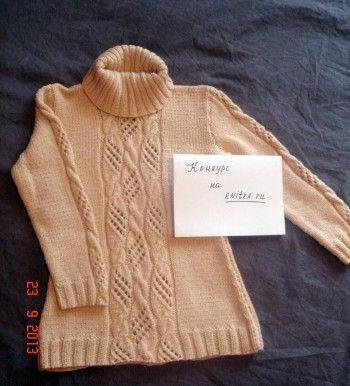 Туника для девочки на 6-7 лет (рост 128/134). Вязание спицами.