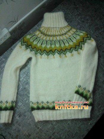 Вязаный свитер – работа Натальи. Вязание спицами.