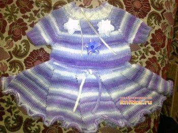 Вязаное платье для девочки – работа Валентины. Вязание спицами.