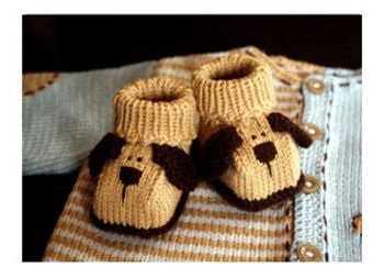 Пинетки – собачки. Вязание спицами.
