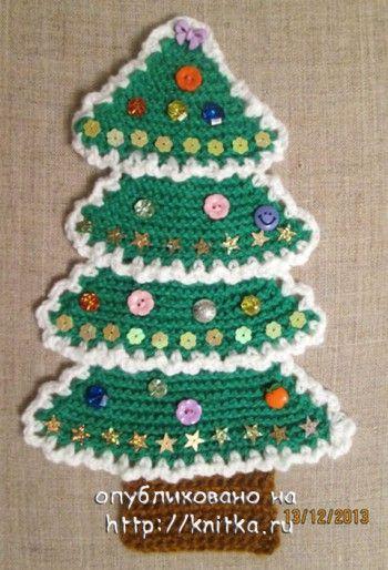 Вязаная ёлочка – панно. Вязание спицами.