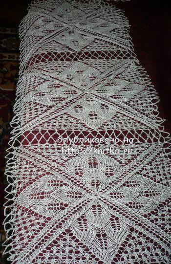 Дорожка из салфеток, связанная спицами. Вязание спицами.