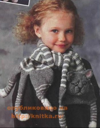 """Детский шарф – """"кот"""". Вязание спицами."""
