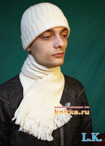 Комплект: шапка + шарф спицами. Вязание спицами.