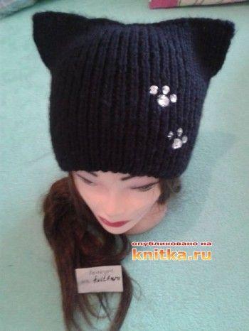 Вязаная спицами шапка – кошка. Вязание спицами.