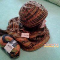 Мужская шапка и бактус спицами