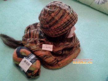 Мужская шапка и бактус спицами. Вязание спицами.