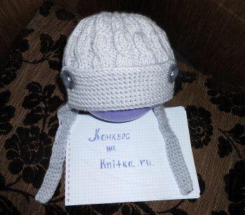Шапочка-шлем для мальчика. Вязание спицами.