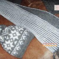 Шапка и шарф спицами для мальчика 8 лет