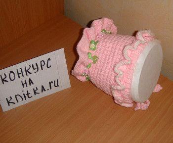 Шапочка спицами для новорожденного Розовое Чудо