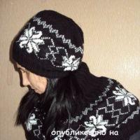 Женская шапка спицами и шарф – душегрейка